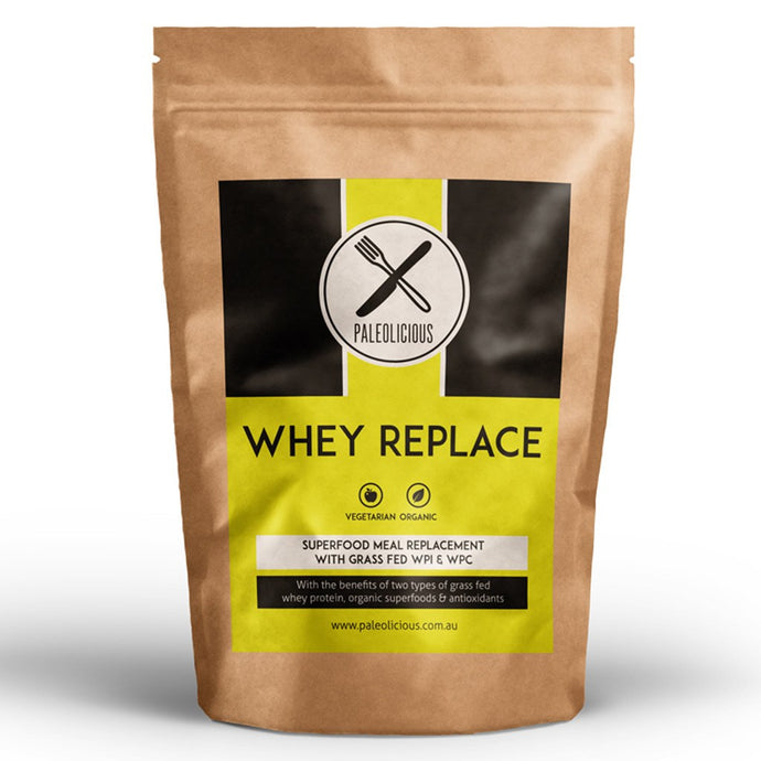 WHEY REPLACE - Organic Superfood Meal Replacement Shake with WPI & WPC - Paleolicious
