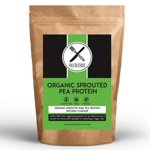 SPROUTED PEA PROTEIN - Natural Flavoured Organic Sprouted Raw Pea Protein - Paleolicious