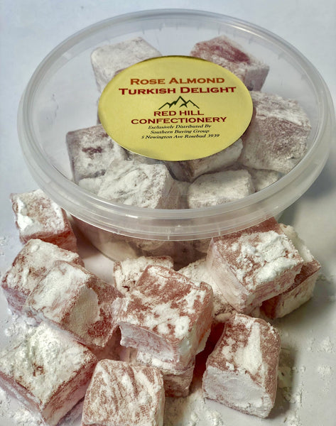Red Hill Confectionery Rose Almond Turkish Delight 200g Tub