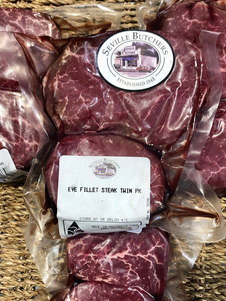 Beef Aged eye fillet steaks twin pack