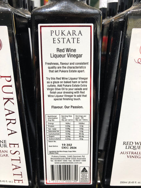 Pukara Estate Red Wine Liqueur Australian Vinegar 250ml