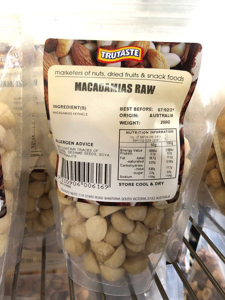 Trutaste Macadamias Raw 250g
