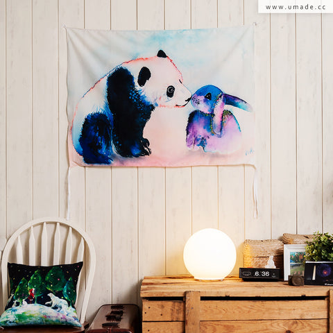 ★壁幔Wall Tapestry★ Panda & Bunny Love