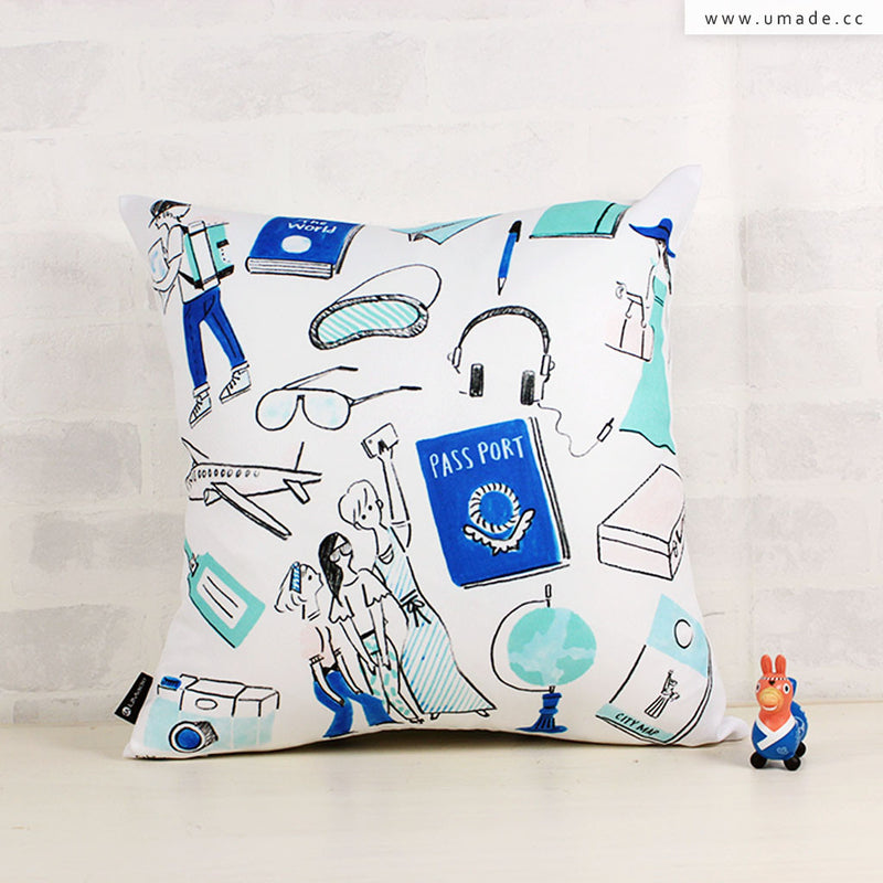 UMade Artist Throw Pillow ★藝術家創作抱枕★ 旅行 - Naho Ogawa