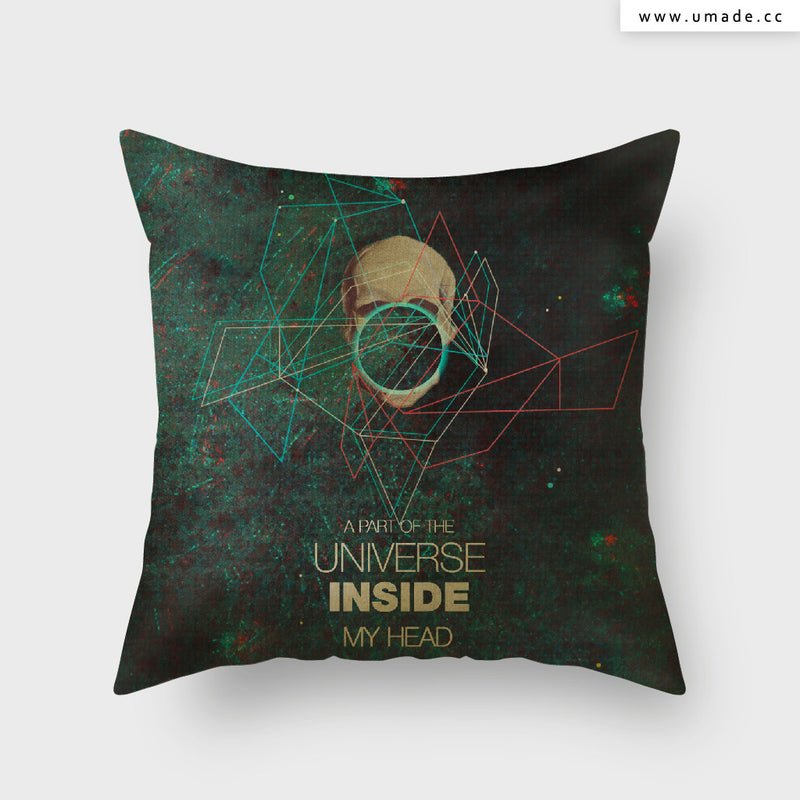 UMade Artist Throw Pillow-藝術家創作抱枕- A Part Of The Universe In side My Head- Frank Moth