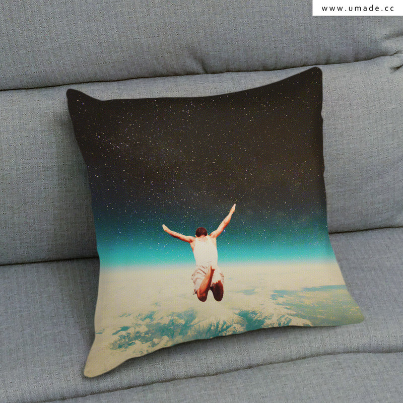 UMade Artist Throw Pillow-藝術家創作抱枕- Falling With A Hidden Smile- Frank Moth