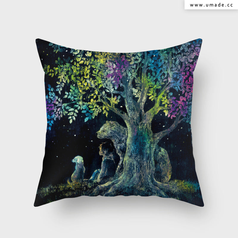 UMade Artist Throw Pillow ★藝術家創作抱枕★絢爛樹下 Under the Brilliant Tree - Yoko Sueyoshi末吉陽子