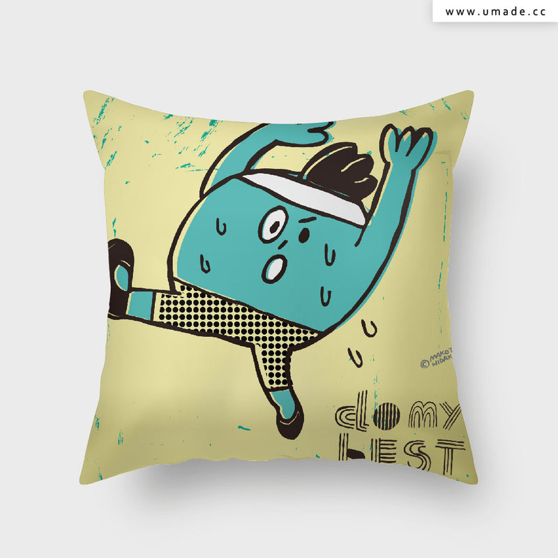 UMade Artist Throw Pillow ★藝術家創作抱枕★Do my best (blue) - Makoto Hidaka (From Japan)