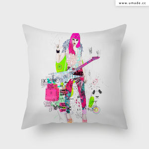 =UMade Artist Throw Pillow-藝術家創作抱枕-Pink Metal Noise   - Raphaël Vicenzi