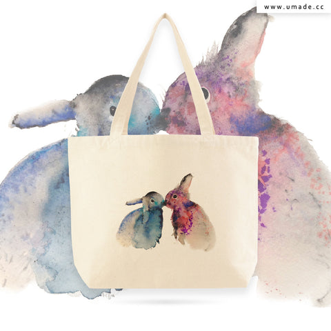 UMade Artist Large Tote Bag 藝術家創作帆布包-Bunnies in love-Krista Bros
