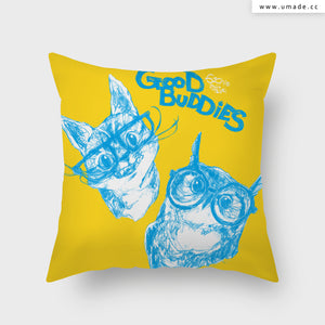 UMade Artist Throw Pillow★藝術家創作抱枕 午休枕 車枕★ GOOD BUDDIES─貓貓貓頭鷹 - 劉宜其 61Chi★