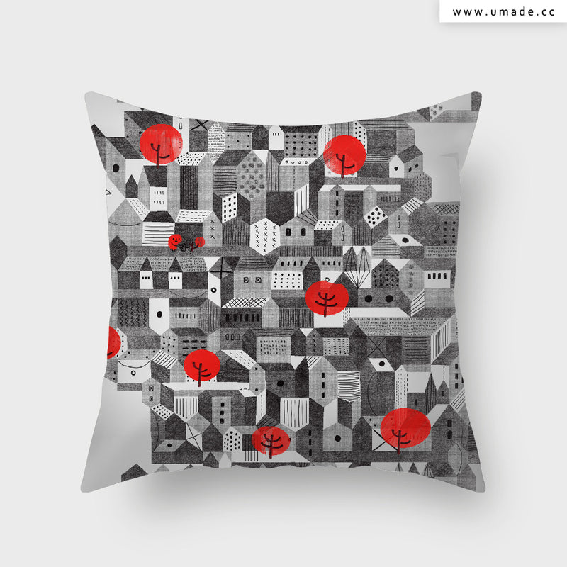 UMade Artist Throw Pillow★藝術家創作抱枕★ City - 憂鬱城市 - Lian An