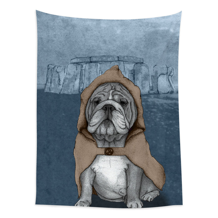 ★壁幔Wall Tapestry★ English Bulldog With Stonehenge
