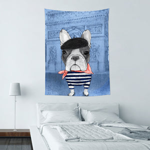 UMade-壁幔Wall Tapestry-French Bulldog With Arc de Triomphe (v2) - Barruf