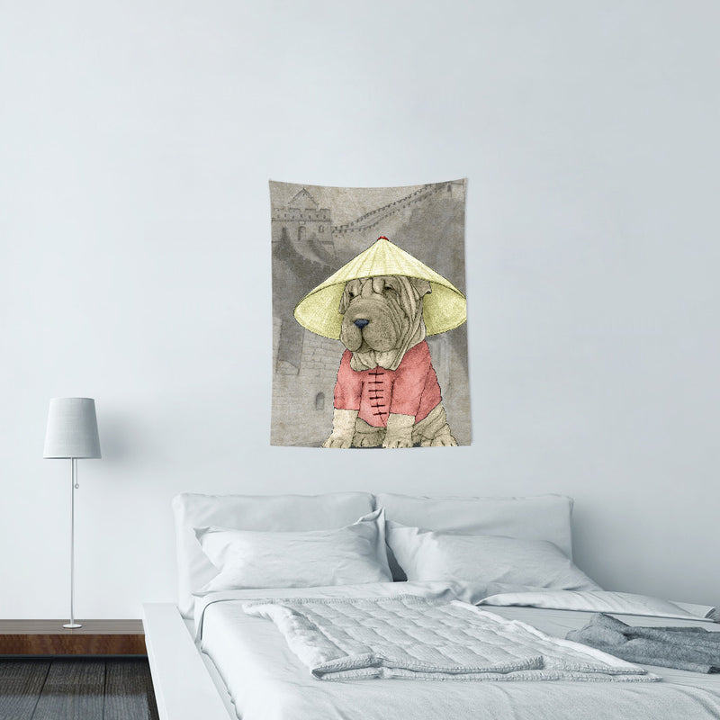 UMade-壁幔Wall Tapestry- Shar Pei With The Great Wall - Barruf