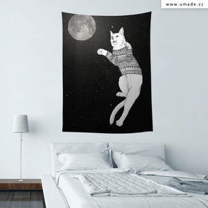 UMade★壁幔Wall Tapestry★ Cat trying to catch the moon - Barruf
