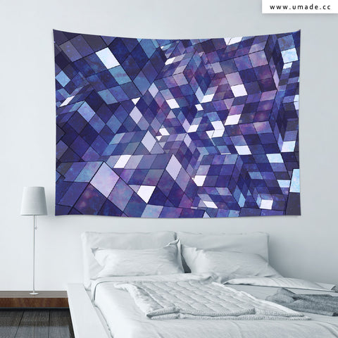 UMade★壁幔Wall Tapestry★ Purple Rubik Abstract - Barruf