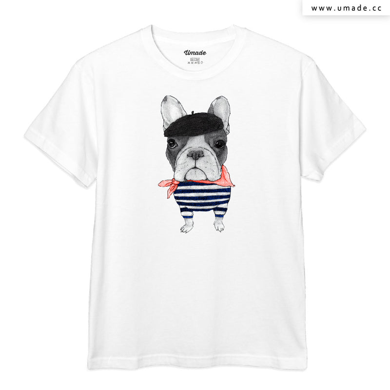 UMade Artist T-Shirt 藝術家創作T恤-French Bulldog With Arc de Triomphe (v2) - barruf