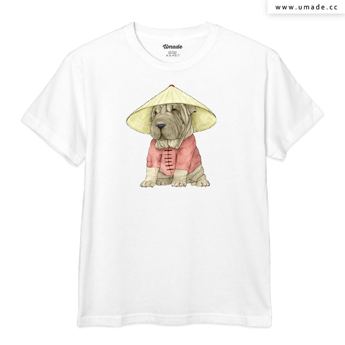 ★T-Shirt - Men 男短T★Shar Pei With The Great Wall - Barruf