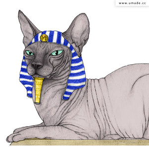 UMade Artist T-Shirt 藝術家創作T恤-Sphynx Cat With Pyramids Of Gizah - barruf