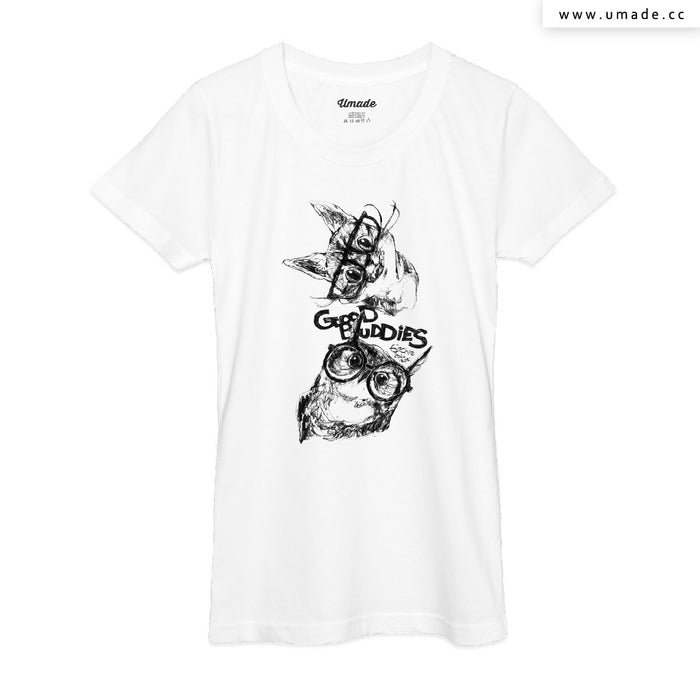 ★T-Shirt - Women 女短T★ GOOD BUDDIES─貓貓貓頭鷹 - 劉宜其 61Chi