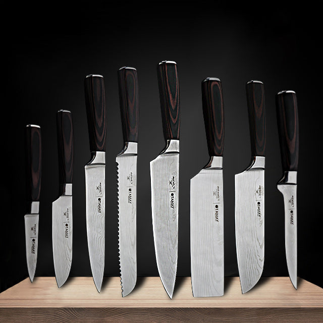 8inch japanese kitchen knives Laser Damascus pattern chef knife Sharp Santoku Cleaver Slicing Utility Knives Tools