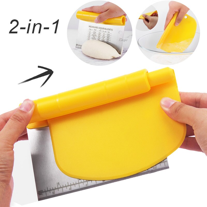 Stainless Steel Dough Scraper 2-in-1 Scraper with Measuring Cutter Blade Roll Handle Flour Dough Scraper baking tools for cakes