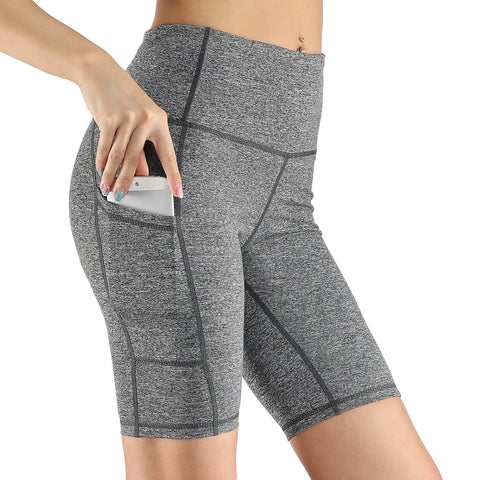 women's sports  shorts breathable tight high waist five yoga shorts pocket stretch yoga