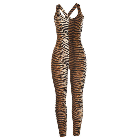 Summer fashion leopard print sports fitness hollowed-out jumpsuit