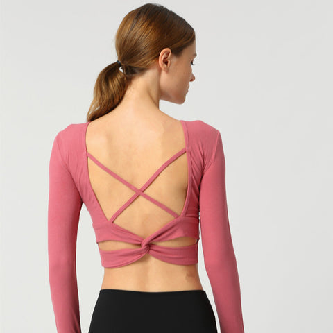 New Yoga Sports Long Sleeve T-Shirt Cross Straps Sports Fitness T-Shirt with Chest Pad