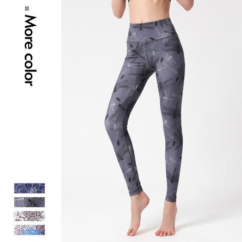 New digital printing women's yoga tights quick-drying stretch running sports outdoor fitness  pants