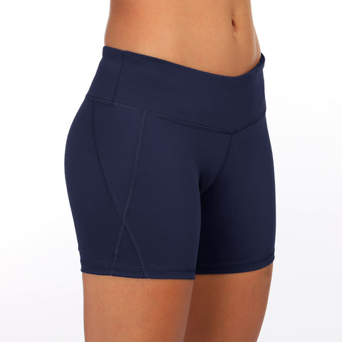 Beauty hip sports shorts women's solid color tight yoga shorts anti-walking body fitness pants