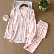 Casual Cotton Silk Long Sleeve Home Clothes Pajamas Suits