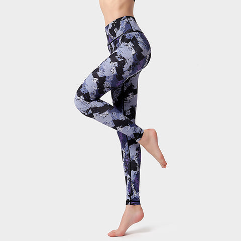 Yoga clothes fitness running women quick-drying buttocks high waist yoga print trousers