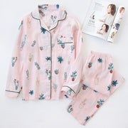 Double-layered Gauze Suit Pajamas Rimmed Home Clothes