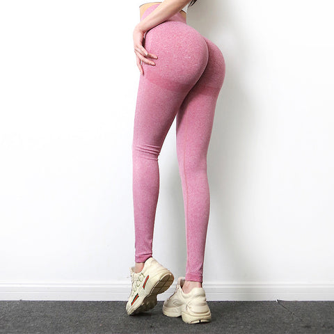 Hot Selling Seamless Knitted Peach Hip Yoga Pants Sports Fitness Pants Sexy Hip Cocky Leggings
