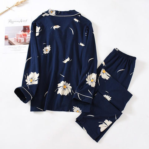 Cotton Knitted Pajama Set Long Sleeve Trousers Lapel Loose Home Clothes