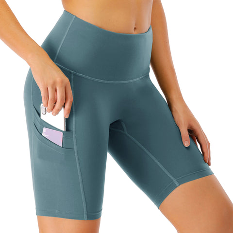 Women's sports running side pocket shorts tight-fitting high waist yoga pants