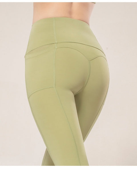 High-waisted Running Bottom-fitting Pants