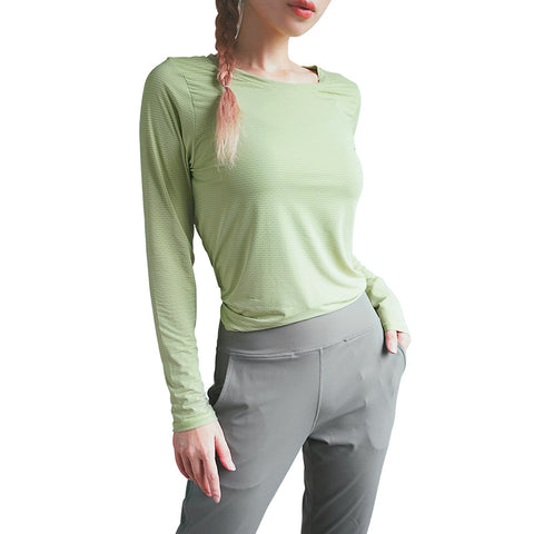 Sports loose slim long-sleeved yoga wear running fitness mesh breathable quick-drying T-shirt.