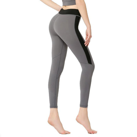 Solid Color High Waist Tight Stretch Capris Sports Fitness Pants