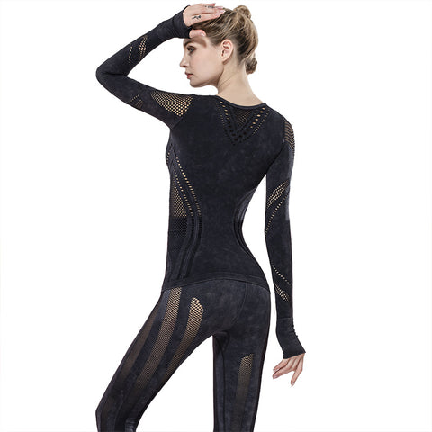 Seamless Sports Casual Long Sleeve Top Cut Out Tight Yoga Tops