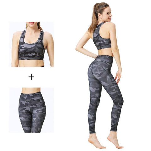 Tight Elastic Bodybuilding Sports Vest Fitness Print Yoga Suit