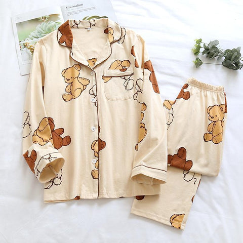 Cotton Printed Long Sleeve Home Wear Pajamas Suits