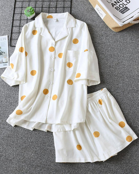Cotton Knitted Short-sleeved Shorts Women Still Turn The Collar Home Clothing Set Pajamas