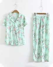 Cotton Silk Short Sleeve Home Wear Pajamas Suits