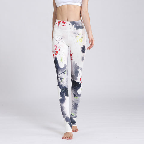 New style yoga pants women European and American printed sportswear body yoga fitness pants