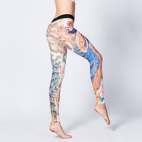 Peacock Print Yoga Pants Fitness Sports Pants Casual Tights