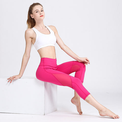 Yoga Pants Hips Tights Stretch Quick-drying High Waist Training Fitness Pants Cropped Pants
