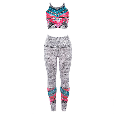 Hot sales yoga set through the fall women's digital printed yoga set